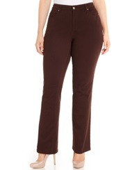Charter Club Plus Size Tummy Control Straight Leg Jeans Rich Truffle Wash Only At Macy's