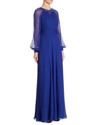 Rickie Freeman For Teri Jon Silk Chiffon Dress Royal Blue