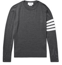 Thom Browne Striped Merino Wool Sweater Dark Gray