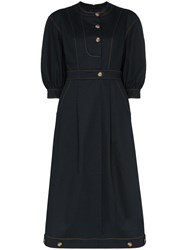 Rejina Pyo Button Detail Midi Dress Black
