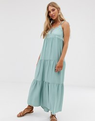 Stradivarius Maxi Dress With Lace Insert In Green Green