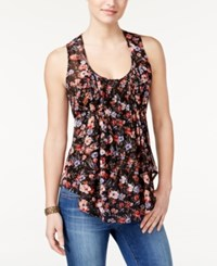 American Rag Printed Pintucked Sleeveless Top Only At Macy's Black Combo