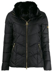 Barbour Fur Trimmed Collar Jacket Black