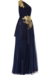 Mikael Aghal Embellished Tulle Gown Blue