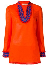 Tory Burch Embroidered Tunic Top Yellow Orange