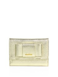 Miu Miu Madras Bow Metallic Leather Flap Wallet Fuoco Silver Gold Black