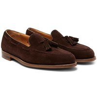 Edward Green Hampstead Leather Trimmed Suede Tasselled Loafers Brown