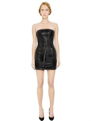 Balmain Strapless Nappa Leather Bustier Dress