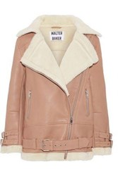 W118 By Walter Baker Adele Shearling Biker Jacket Antique Rose