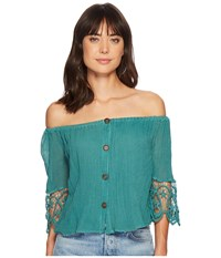 Jens Pirate Booty Jen's Deco Fausta Top Teal Clothing Blue