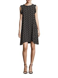 Max Studio Dot Printed Sleeveless Dress Black
