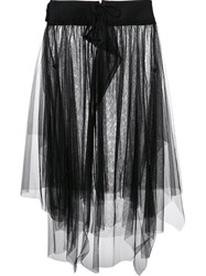 Y's Asymmetric Tulle Skirt Black