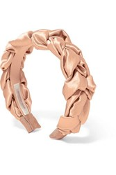 Jennifer Behr Lorelei Braided Hammered Silk Satin Headband Pink
