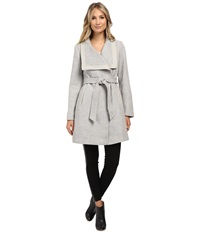 Jessica Simpson Basketweave Wrap Coat Grey Women's Coat Gray