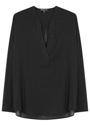 James Perse Black Cotton And Silk Blend Tunic