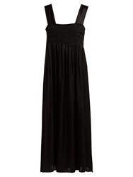 Alexachung Smocked Satin Dress Black