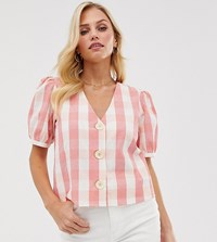 Mango Button Front Blouse In Gingham Print Pink