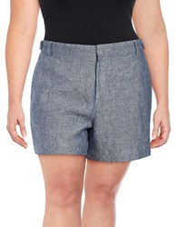 Lord And Taylor Plus Zipped Linen Shorts Dark Evening
