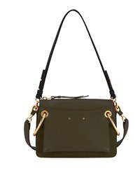 Chloe Roy Small Leather Suede Satchel Bag Forest