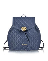 Love Moschino Heart Quilted Eco Leather Backpack Navy Blue