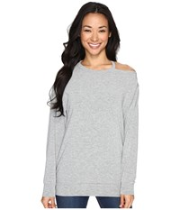 Culture Phit Tatum Open Shoulder Long Sleeve Top Heather Grey Women's Clothing Gray