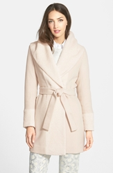 Trina Turk 'Jane' Wool Blend Wrap Coat Bone