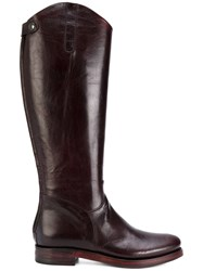 Rocco P. Rear Zip Boots Leather Red