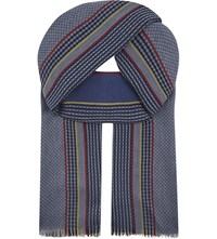 Aspinal Of London Sport Stripe Merino Wool Scarf Navy