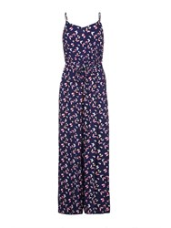 Yumi Butterfly Print Sleeveless Jumpsuit Navy