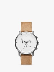 Mvmt 'S Chronograph Date Leather Strap Watch Camel White D Mc01 Wt