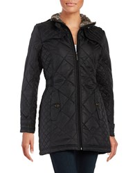 Weatherproof City Walker Diamond Quilted With Faux Fur Collar Coat Black