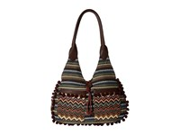 American West Tulum Scoop Top Tote Dark Brown Multi Tote Handbags