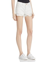 Free People Daisy Chain Crochet Detail Denim Shorts White