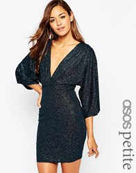 Asos Petite Glitter Mini Bodycon Dress With Kimono Sleeves Green