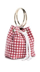 Maison Boinet Small Gingham Bucket Bag Red