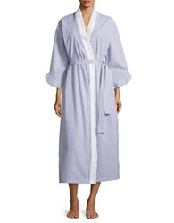 Eileen West Lace Accented Striped Robe Navy