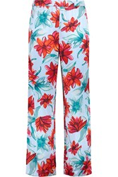 Suno Floral Print Silk Satin Straight Leg Pants Blue