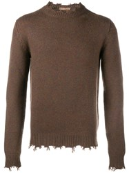 Etro Cashmere Frayed Edge Jumper Brown
