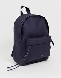 French Connection Nina Logo Backpack In Recycled Leather Blue
