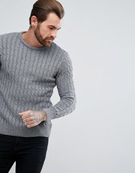 Ringspun Cable Knitted Jumper Grey