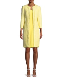 Albert Nipon Two Piece Tweed Coat And Crepe Dress Set Lemon Cream