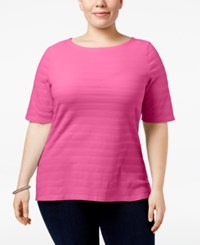 Charter Club Plus Size Cotton Textured Top Only At Macy's Strawberry Ice