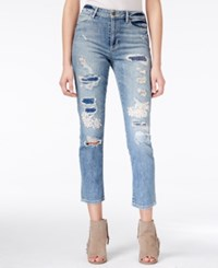 Guess Flower Child Ripped Cropped Medium Blue Wash Jeans Flower Child 3 W. Pathcing And