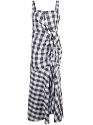 Likely Check Flared Midi Dress Blue