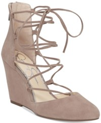 Jessica Simpson Jacee Lace Up Wedge Dress Sandals Women's Shoes Warm Taupe