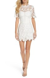 Adelyn Rae Women's Illusion Lace Romper White