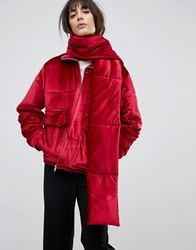 House Of Sunny Padded Jacket In Velvet With Detachable Scarf Red
