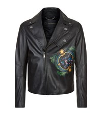 Versace Hand Painted Leather Jacket Black