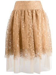 Ermanno Scervino High Waisted Lace Skirt Neutrals