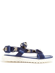 Valentino Rubber Stud Sole Sandals Navy Multi